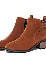 Недорогие -Жен. Fashion Boots Замша Зима Ботинки На толстом каблуке Закрытый мыс Ботинки Черный / Серый / Желтый
