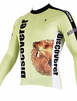 abordables -ILPALADINO Homme Manches Longues Maillot de Cyclisme - Jaune Mode Cyclisme Hauts / Top Hiver, Elasthanne