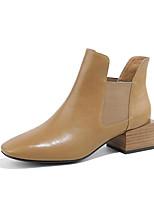 Недорогие -Жен. Армейские ботинки Кожа Наступила зима Ботинки На толстом каблуке Черный / Верблюжий