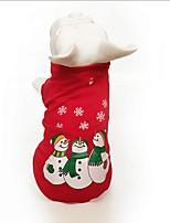 baratos -Cachorros / Gatos Moletom Roupas para Cães Desenho Animado / Floco de Neve Vermelho Algodão Ocasiões Especiais Para animais de estimação Unisexo Comum / Natal