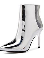 Недорогие -Жен. Комфортная обувь Наппа Leather Зима Ботинки На шпильке Серебряный / Светло-коричневый