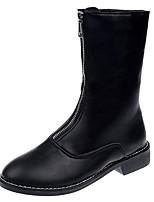 baratos -Mulheres Fashion Boots Couro Ecológico Outono Casual Botas Salto Baixo Botas Cano Médio Preto / Bege / Vermelho