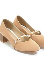 Недорогие -Жен. Балетки Полиуретан Весна Обувь на каблуках На толстом каблуке Серый / Розовый / Миндальный