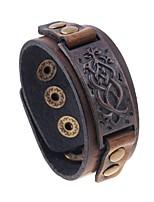abordables -Homme Le style rétro Bracelets Vintage Bracelets en cuir - Cuir Thème floral Elégant, Rétro, Punk Bracelet Marron Pour Plein Air Vacances