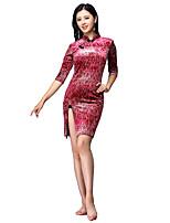 baratos -Dança do Ventre Vestidos Mulheres Treino Elastano Estampa / Com Fenda Meia Manga Alto Vestido