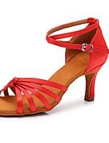 baratos -Mulheres / Para Meninas Sapatos de Dança Latina Cetim Sandália / Salto Presilha Salto Cubano Personalizável Sapatos de Dança Vermelho