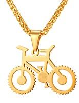 Недорогие -Муж. Ожерелья с подвесками - Нержавеющая сталь Велоспорт Мода Золотой, Черный, Серебряный 55 cm Ожерелье Бижутерия 1шт Назначение Подарок, Повседневные