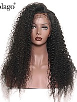 Недорогие -Натуральные волосы Лента спереди Парик Бразильские волосы Кудрявый Парик Глубокое разделение 130% Плотность волос Подарок Горячая распродажа Удобный Нейтральный Жен. Длинные