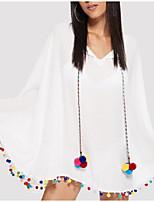 Недорогие -Жен. Классический Погруженный декольте Белый Пляжные шорты Накидка Купальники - Однотонный Пайетки M L XL / Сексуальные платья