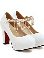 Недорогие -Жен. Комфортная обувь Полиуретан Зима Обувь на каблуках На толстом каблуке Белый / Черный / Розовый