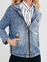 Недорогие -Жен. Повседневные Классический Обычная Джинсовая куртка, Однотонный Капюшон Длинный рукав Хлопок Светло-синий L / XL / XXL