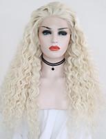 Недорогие -Синтетические кружевные передние парики Кудрявый Блондинка Свободная часть Искусственные волосы 24 дюймовый Регулируется / Жаропрочная / Для вечеринок Блондинка Парик Жен. Длинные Лента спереди / Да