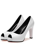 Недорогие -Жен. Балетки Наппа Leather Лето Обувь на каблуках На шпильке Белый / Черный