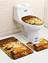 Недорогие -3 предмета Modern Коврики для ванны 100 г / м2 полиэфирный стреч-трикотаж Новинки Прямоугольная Ванная комната Творчество