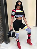 abordables -Femme Mosaïque Survêtement - Vert Véronèse, Rouge, Bleu Des sports Lettre Spandex Taille Haute Collants / Hauts / Top Danse, Course / Running, Fitness Grandes Tailles Tenues de Sport Butt Lift
