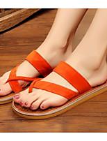 Недорогие -Жен. Комфортная обувь Замша / Микроволокно Лето Тапочки и Шлепанцы На плоской подошве Черный / Оранжевый / Верблюжий