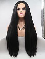 Недорогие -Синтетические кружевные передние парики Жен. Естественные прямые Черный Стрижка каскад 130% Человека Плотность волос Искусственные волосы 26 дюймовый Женский Черный Парик Длинные Лента спереди Черный