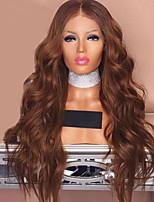 billiga -Modernfairy Hair Syntetiska peruker / Syntetiska snörning framifrån Vågigt / Kroppsvågor Middle Part Syntetiskt hår 24 tum Mjuk / Bästa kvalitet / Mittparti Sy i Brun Peruk Dam Lång Spetsfront / Ja