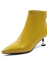 Недорогие -Жен. Fashion Boots Наппа Leather Осень Ботинки На шпильке Закрытый мыс Ботинки Черный / Желтый
