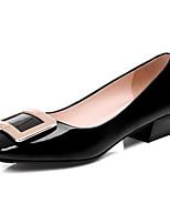 Недорогие -Жен. Балетки Лакированная кожа Весна Обувь на каблуках На толстом каблуке Черный / Красный