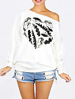 abordables -Femme Actif Pantalon - Géométrique Blanc / Epaules Dénudées