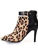 Недорогие -Жен. Fashion Boots Наппа Leather Осень Ботинки На шпильке Закрытый мыс Ботинки Желтый