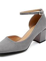 Недорогие -Жен. Комфортная обувь Замша Лето Обувь на каблуках На толстом каблуке Черный / Серый / Коричневый