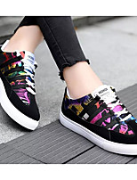 Недорогие -Жен. Комфортная обувь Полотно Весна & осень Кеды На плоской подошве Цвет радуги / Черно-белый