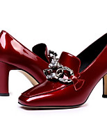 Недорогие -Жен. Балетки Наппа Leather Осень Обувь на каблуках На толстом каблуке Черный / Винный