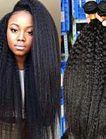 Недорогие -3 Связки Бразильские волосы Яки 8A Натуральные волосы Человека ткет Волосы Пучок волос One Pack Solution 8-28 дюймовый Естественный цвет Ткет человеческих волос Машинное плетение Sexy Lady
