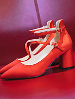 Недорогие -Жен. Комфортная обувь Сатин Лето Обувь на каблуках На толстом каблуке Красный