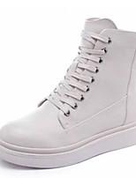 Недорогие -Жен. Армейские ботинки Полиуретан Наступила зима На каждый день Ботинки На плоской подошве Круглый носок Сапоги до середины икры Черный / Бежевый