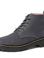 Недорогие -Жен. Fashion Boots Кожа Зима Винтаж / На каждый день Ботинки На плоской подошве Ботинки Черный / Серый / Хаки