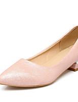 Недорогие -Жен. Балетки Кожа Весна Обувь на каблуках Блочная пятка Белый / Черный / Розовый