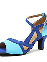 abordables -Femme Chaussures Latines Satin Talon Fantaisie Talon Cubain Chaussures de danse Bleu