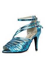 Недорогие -Жен. Обувь для латины Искусственная кожа На каблуках Планка Тонкий высокий каблук Танцевальная обувь Синий