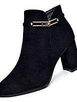 Недорогие -Жен. Fashion Boots Полиуретан Осень Минимализм Ботинки На толстом каблуке Заостренный носок Ботинки Черный