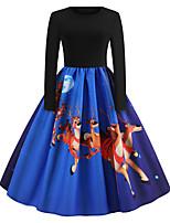baratos -Mulheres Vintage / Elegante balanço Vestido - Patchwork / Estampado, Estampa Colorida Altura dos Joelhos