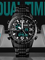 Недорогие -SKMEI Спортивные часы излучатели Защита от влаги, Календарь, С двумя часовыми поясами Черный / Хронометр / Фосфоресцирующий