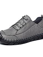Недорогие -Муж. Комфортная обувь Кожа Осень На каждый день / Английский Туфли на шнуровке Массаж Черный / Серый