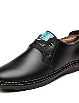 baratos -Homens Sapatos Confortáveis Couro Ecológico Inverno Casual Oxfords Manter Quente Preto / Marron