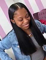 Недорогие -человеческие волосы Remy Лента спереди Парик Бразильские волосы Шелковисто-прямые Черный Парик Стрижка боб Средняя часть Глубокое разделение 130% Плотность волос / Природные волосы / Необработанные
