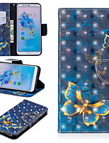 Недорогие -Кейс для Назначение Huawei Mate 10 lite / Huawei Mate 20 Pro Кошелек / Бумажник для карт / со стендом Чехол Бабочка Твердый Кожа PU для Huawei Nova 3i / Huawei P Smart Plus / Honor 7A