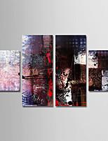 abordables -Peinture à l'huile Hang-peint Peint à la main - Abstrait Moderne Toile / Quatre Panneaux
