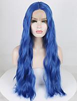 Недорогие -Синтетические кружевные передние парики Волнистый / Волнистые Средняя часть 180% Человека Плотность волос Искусственные волосы 18-26 дюймовый Мягкость / Регулируется / Жаропрочная Синий Парик Жен.