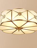 abordables -3 lumières Circulaire Montage du flux Lumière d'ambiance Laiton Antique Métal Verre Créatif 110-120V / 220-240V Blanc Crème
