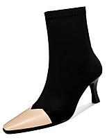 baratos -Mulheres Fashion Boots Couro Ecológico Outono Casual Botas Salto Carretel Botas Cano Médio Preto / Amêndoa