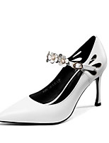 Недорогие -Жен. Комфортная обувь Наппа Leather Осень Обувь на каблуках На шпильке Белый / Черный