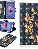 Недорогие -Кейс для Назначение Huawei P20 lite / Huawei P Smart Plus Кошелек / Бумажник для карт / со стендом Чехол Бабочка Твердый Кожа PU для Huawei P20 / Huawei P20 Pro / Huawei P20 lite