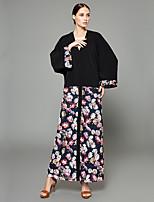 baratos -Mulheres Moda de Rua / Sofisticado balanço / Duas Peças Vestido - Patchwork / Estampado, Geométrica / Estampa Colorida Longo